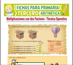 Ficha de Multiplicación con Dos Factores para Tercer Grado de Primaria