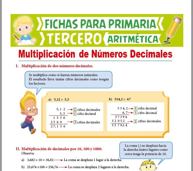 Ficha de Multiplicación de Números Decimales para Tercer Grado de Primaria