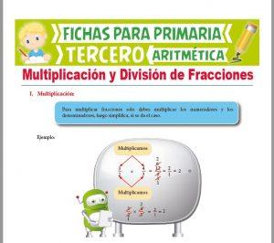 Ficha de Multiplicación y División de Fracciones para Tercer Grado de Primaria