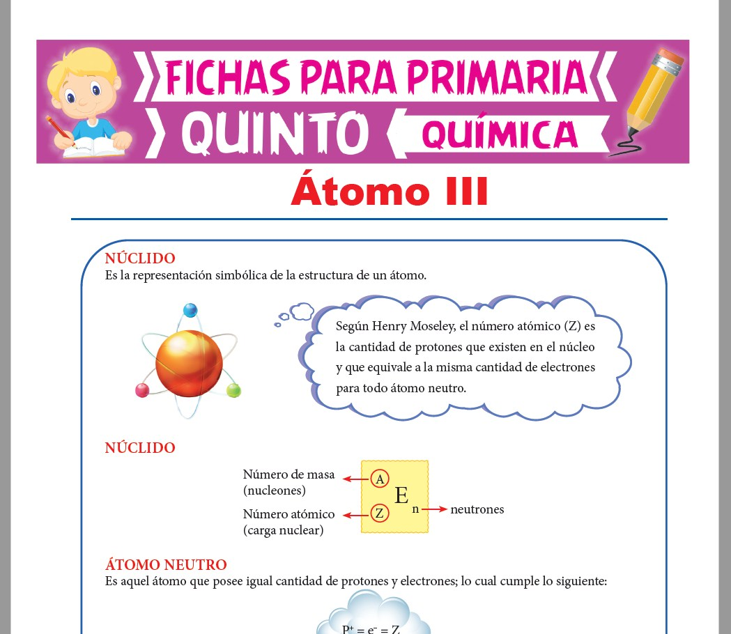 Ficha de Núclidos y Átomo Neutro para Quinto Grado de Primaria