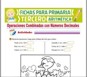 Ficha de Operaciones Combinadas con Números Decimales para Tercer Grado de Primaria