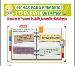 Ficha de Práctica de Adición, Sustracción y Multiplicación para Tercer Grado de Primaria