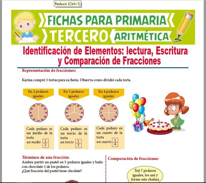 Ficha de Representación de Fracciones para Tercer Grado de Primaria