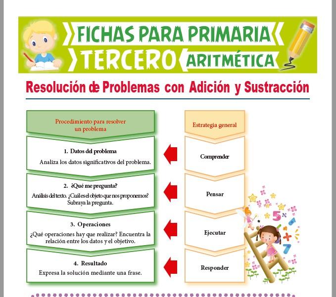 Ficha de Resolución de Problemas con Adición y Sustracción para Tercer Grado de Primaria