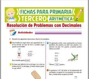 Ficha de Resolución de Problemas con Decimales para Tercer Grado de Primaria