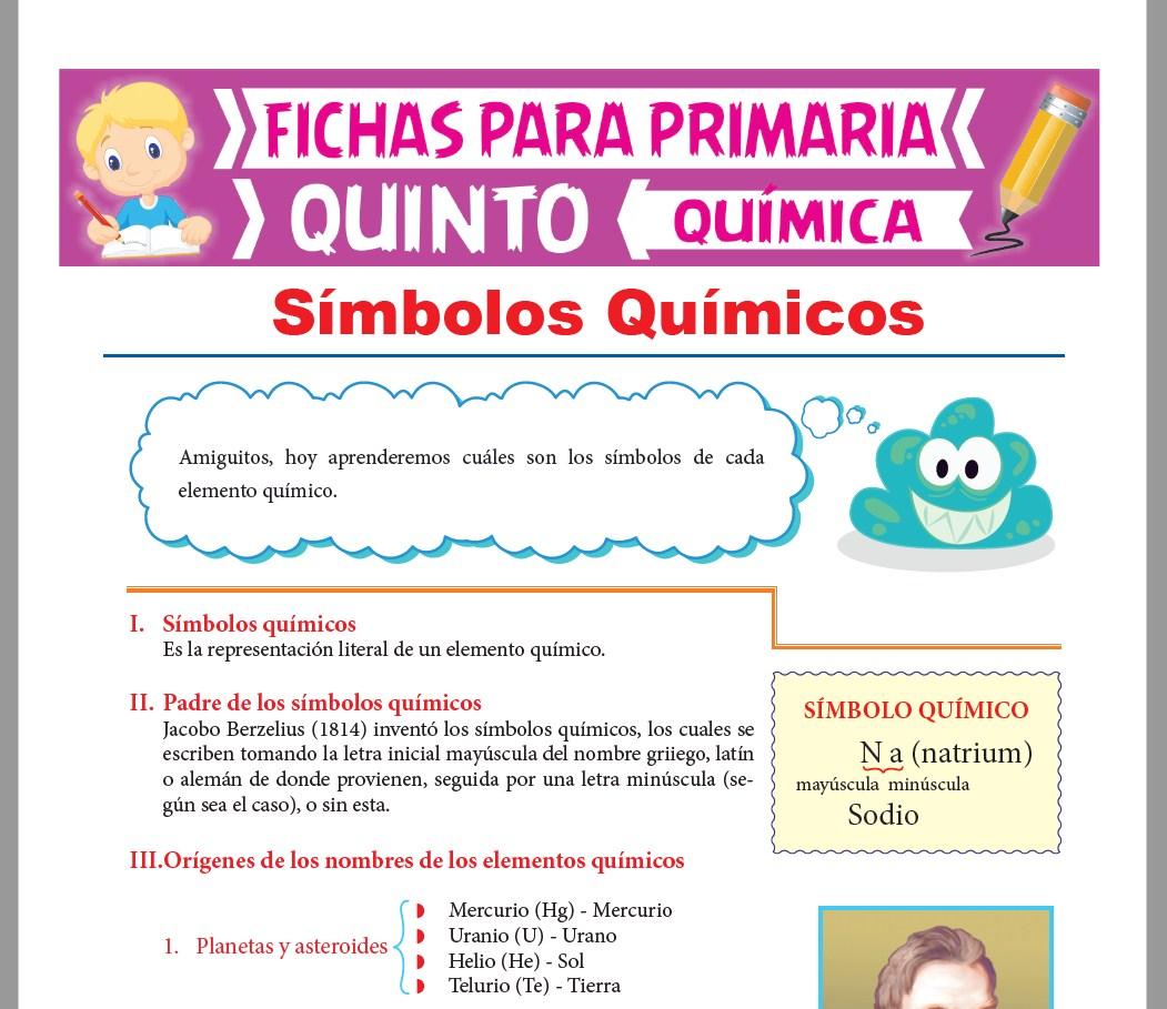 Ficha de Símbolos Químicos para Quinto Grado de Primaria