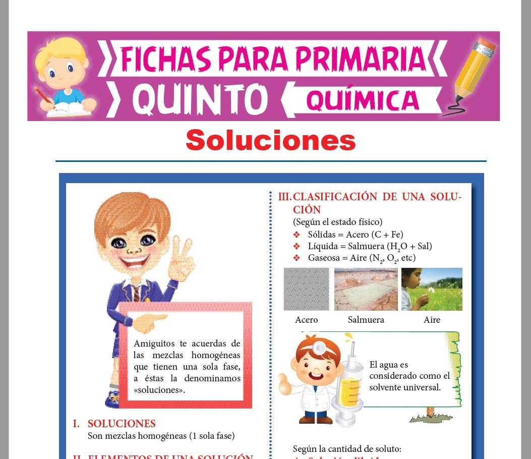 Ficha de Soluciones Químicas para Quinto Grado de Primaria