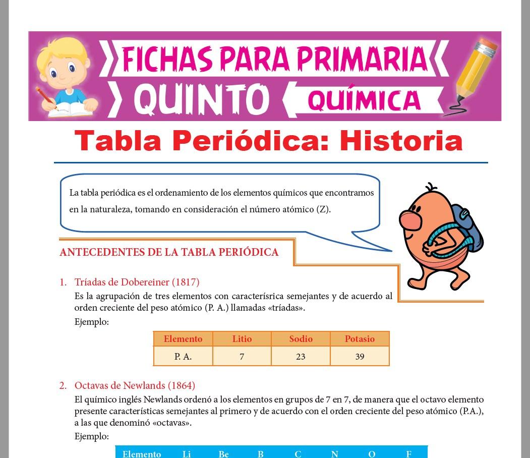 Ficha de Tabla Periódica y su Historia para Quinto Grado de Primaria