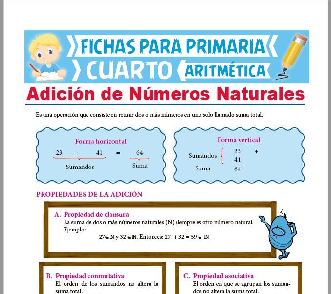 Ficha de Adición de Números Naturales para Cuarto Grado de Primaria