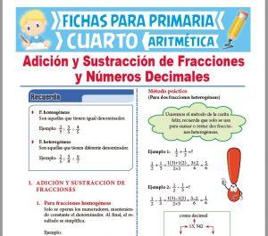 Ficha de Adición y Sustracción de Fracciones y Decimales para Cuarto Grado de Primaria