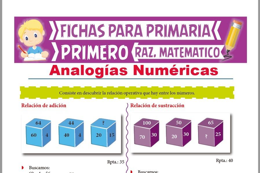 Ficha de Analogías Numéricas para Niños para Primer Grado de Primaria