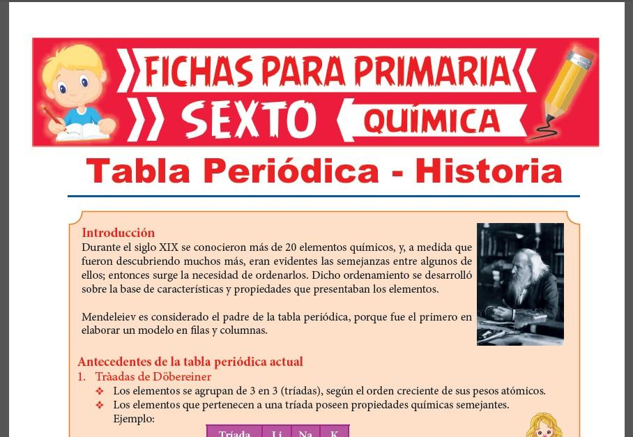 Ficha de Antecedentes de la Tabla Periódica Actual para Sexto Grado de Primaria