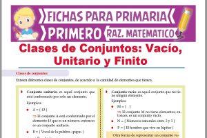 Ficha de Clases de Conjuntos para Niños para Primer Grado de Primaria