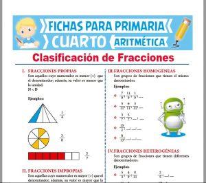 Ficha de Clasificación de Fracciones para Cuarto Grado de Primaria