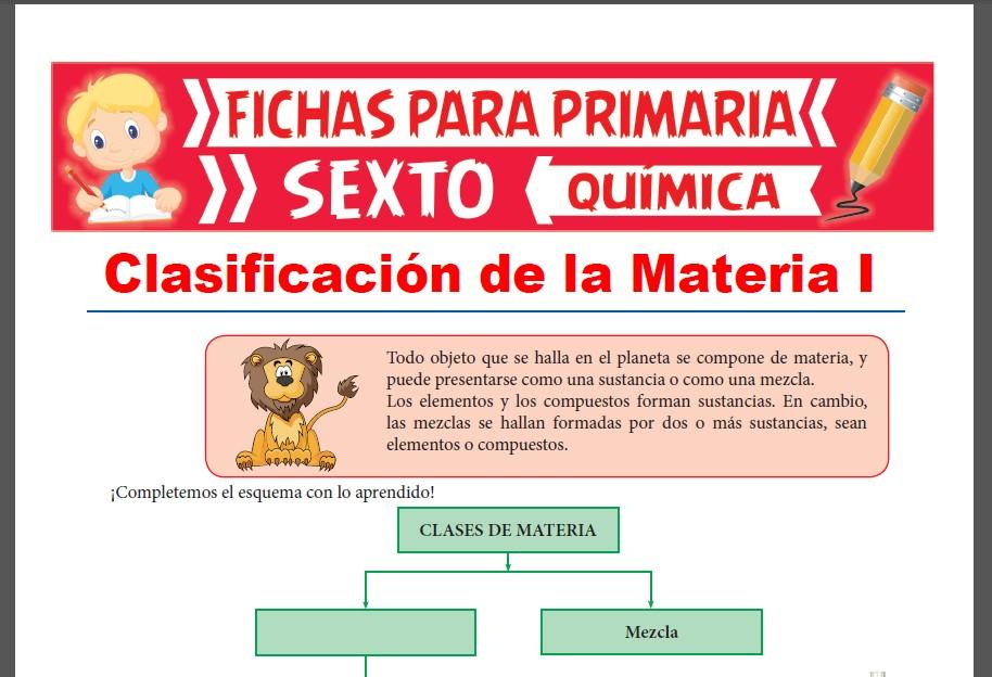 Ficha de Clasificación de la Materia para Sexto Grado de Primaria