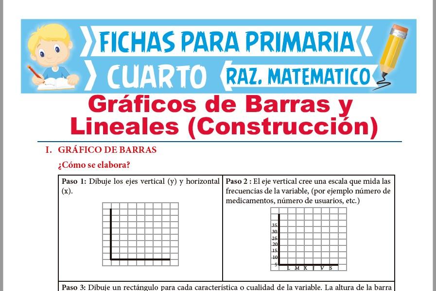 Ficha de Construcción de Gráficos de Barras y Lineales para Cuarto de Primaria