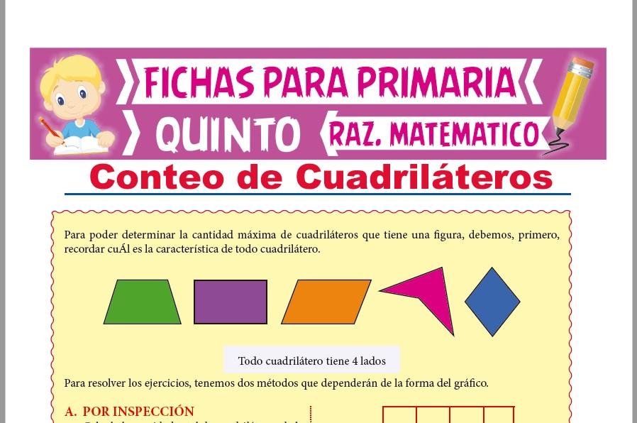 Ficha de Conteo de Cuadriláteros con Fórmula para Quinto Grado de Primaria
