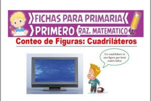 Ficha de Conteo de Cuadriláteros para Niños para Primer Grado de Primaria