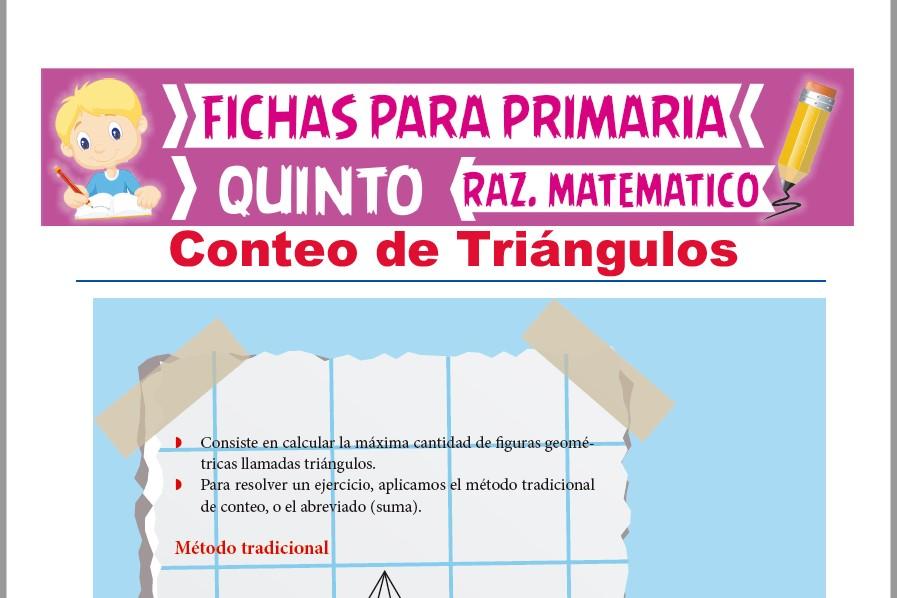 Ficha de Conteo de Triángulos con Fórmula para Quinto Grado de Primaria