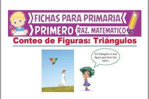 Ficha de Conteo de Triángulos para Niños para Primer Grado de Primaria