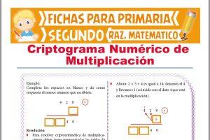 Ficha de Criptograma Numérico de Multiplicación para Segundo Grado de Primaria