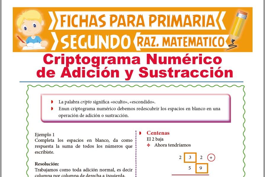 Ficha de Criptograma de Adición y sustracción para Segundo Grado de Primaria