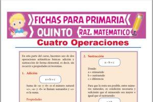 Ficha de Cuatro Operaciones para Quinto Grado de Primaria