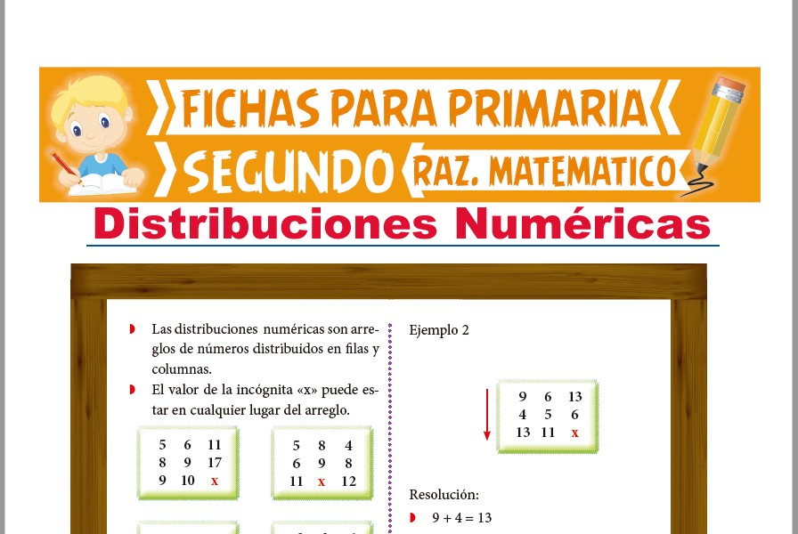 Ficha de Distribuciones Numéricas para Segundo Grado de Primaria
