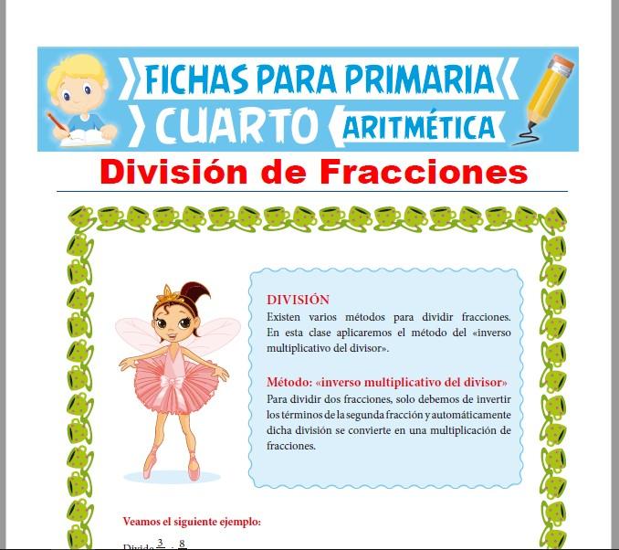 Ficha de División de Fracciones para Cuarto Grado de Primaria
