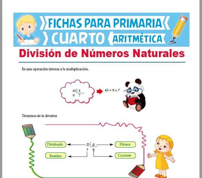 Ficha de División de Números Naturales para Cuarto Grado de Primaria