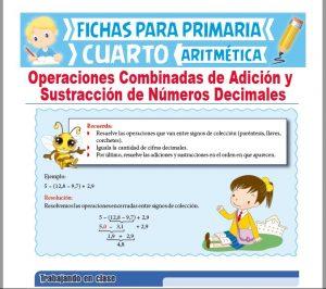 Ficha de Ejercicios Combinados de Decimales para Cuarto Grado de Primaria