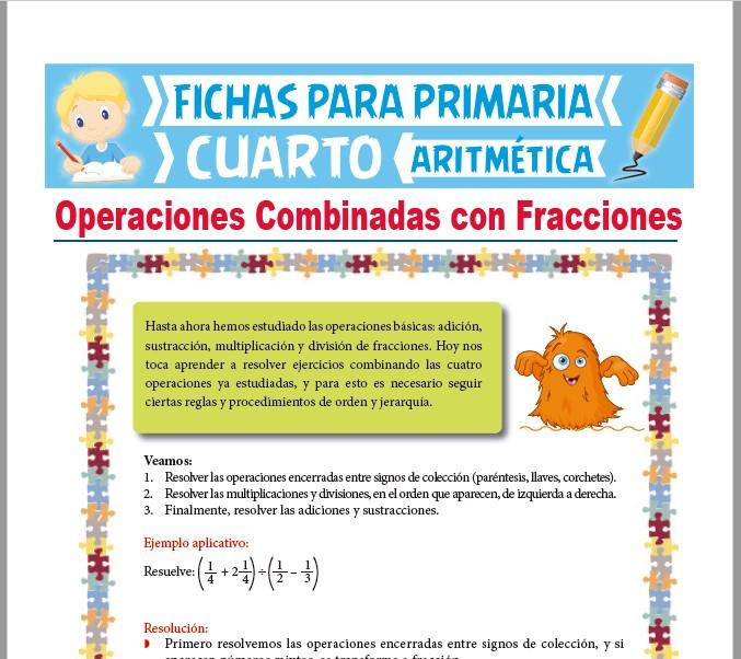 Ficha de Ejercicios Combinados de Fracciones para Cuarto Grado de Primaria