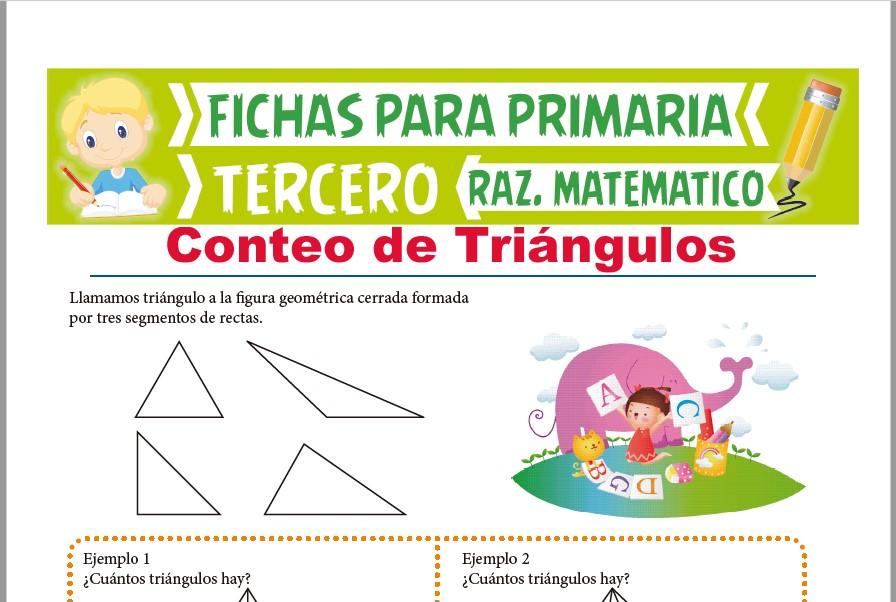 Ficha de Ejercicios de Conteo de Triángulos para Tercer Grado de Primaria