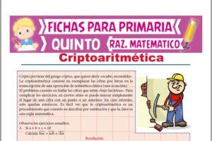 Ficha de Ejercicios de Criptoaritmética para Quinto Grado de Primaria