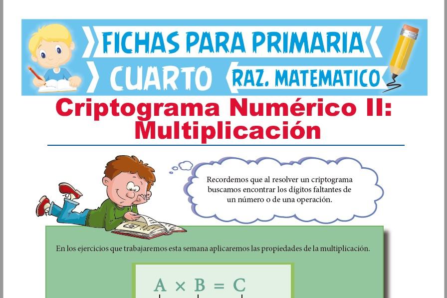Ficha de Ejercicios de Criptograma Numérico de Multiplicación para Cuarto de Primaria