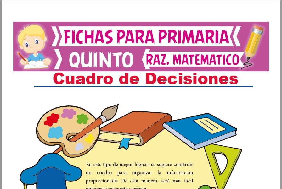 Ficha de Ejercicios de Cuadro de Decisiones para Quinto Grado de Primaria