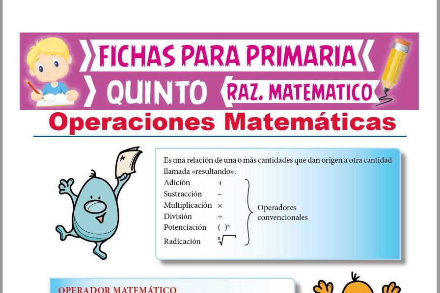 Ficha de Ejercicios de Operaciones matemáticas para Quinto Grado de Primaria
