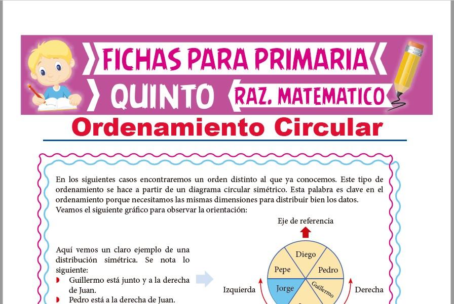 Ficha de Ejercicios de Ordenamiento Circular para Quinto Grado de Primaria