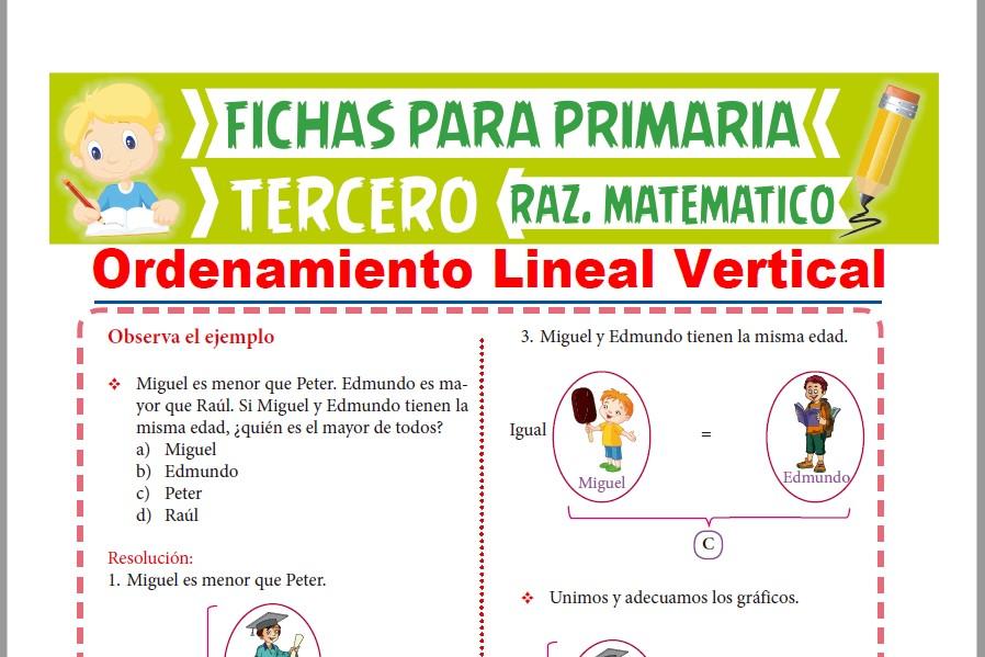 Ficha de Ejercicios de Ordenamiento Lineal Vertical para Tercer Grado de Primaria