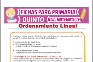 Ficha de Ejercicios de Ordenamiento Lineal para Quinto Grado de Primaria