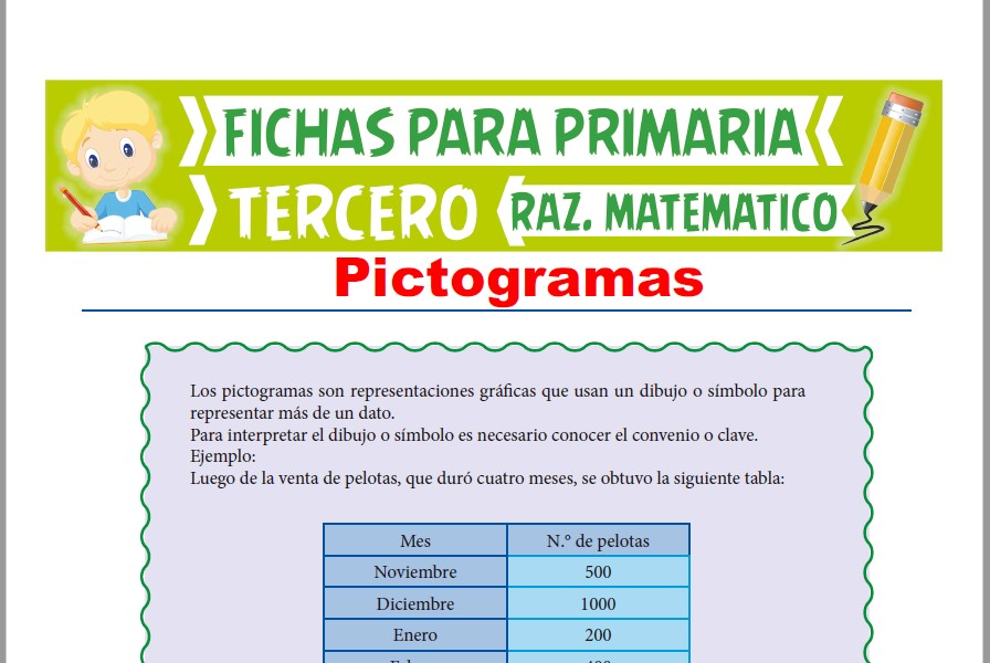 Ficha de Ejercicios de Pictogramas para Tercer Grado de Primaria