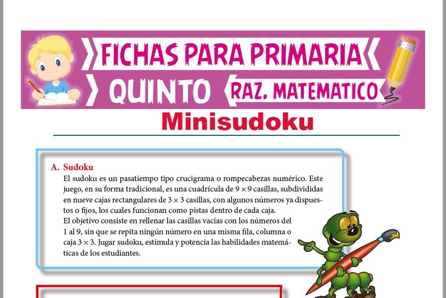 Ficha de Ejercicios de Sudoku para Quinto Grado de Primaria