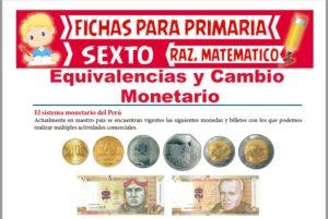 Ficha de Equivalencias y Cambio Monetario para Sexto de Primaria