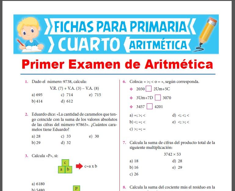 Evaluaciones de Aritmética para Cuarto Grado de Primaria