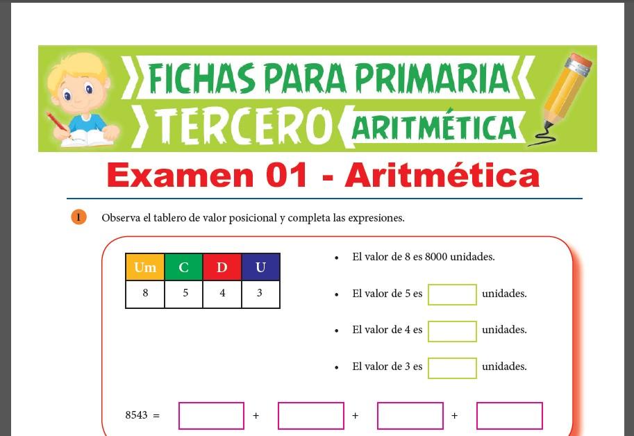 Examenes de Aritmética para Tercer Grado de Primaria