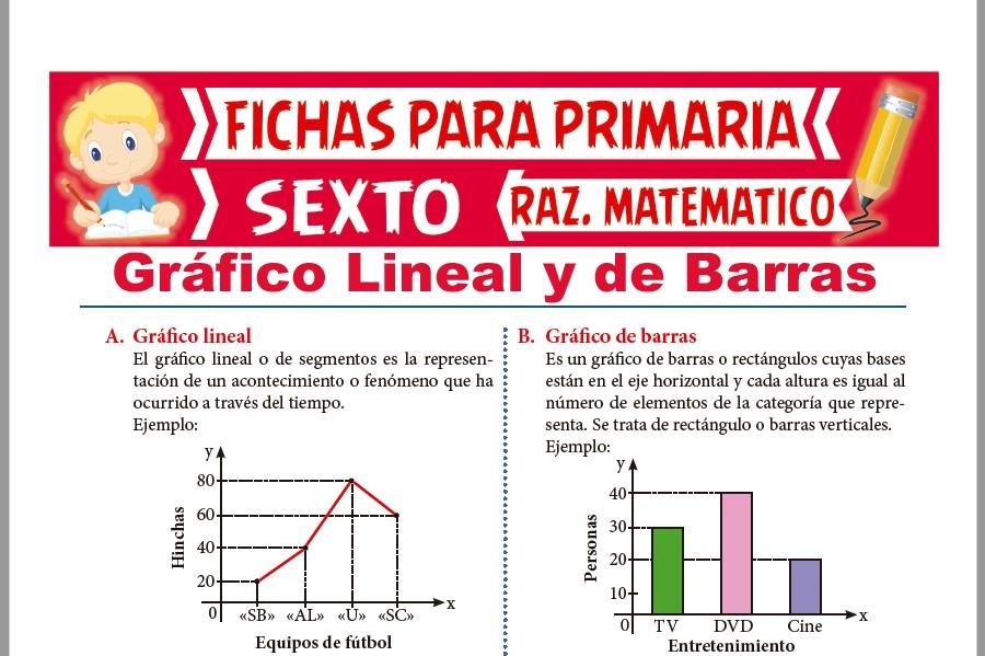 Ficha de Gráfico Lineal y de Barras para Sexto de Primaria
