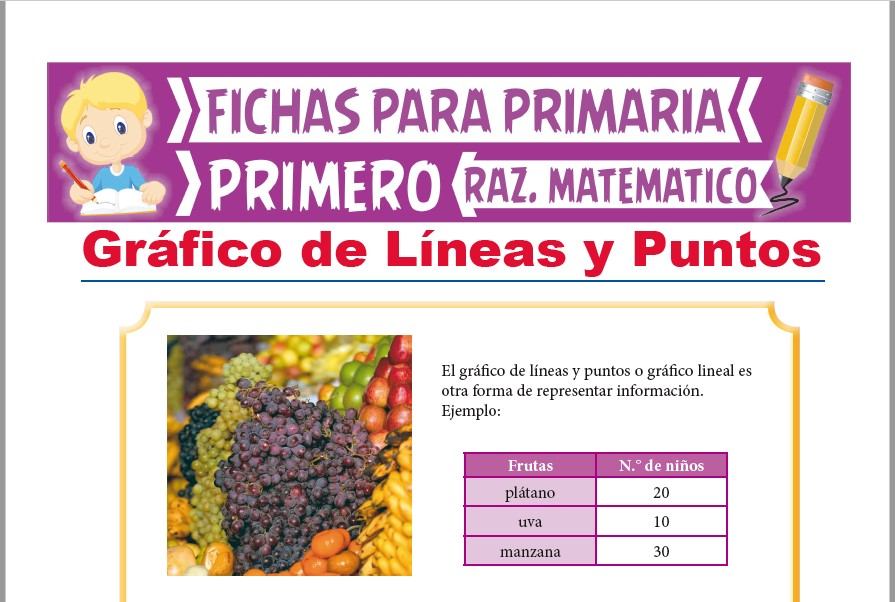 Ficha de Gráfico de Líneas y Puntos para Niños para Primer Grado de Primaria