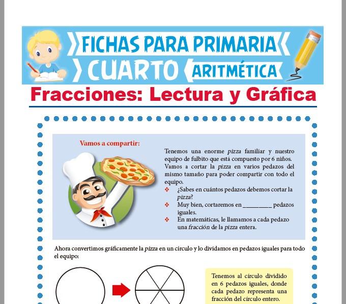 Ficha de Lectura y Gráfica de las Fracciones para Cuarto Grado de Primaria