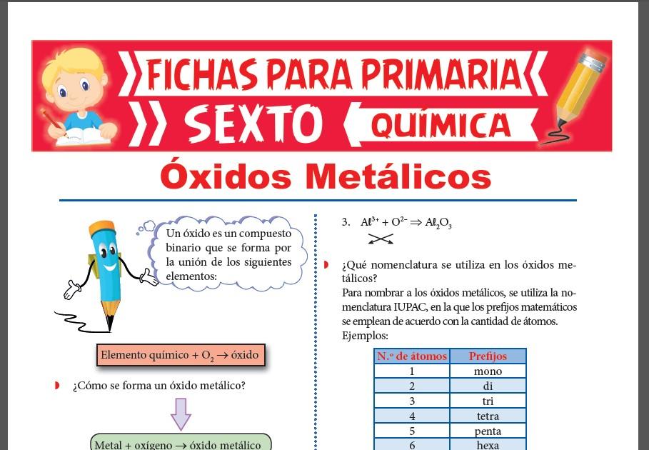Ficha de Los Óxidos Metálicos para Sexto Grado de Primaria