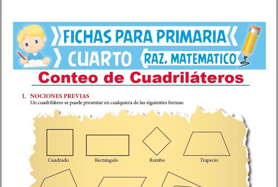 Ficha de Método Práctico de Conteo de Cuadriláteros para Cuarto de Primaria